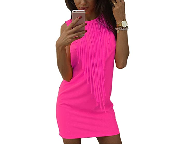HOTGIRY& Sexy Women Dress Tassel Fluorescent Color Summer Casual Dress Sleeveless Slim Fit Mini Dress Lady