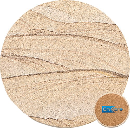 Enkore Natural Stone Coaster Set of 4 Absorbing Standstone Body with Cork Backing, Oversize 4.1 inch Suits Large Mug & Wine Glass