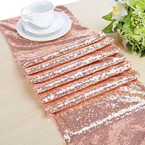 B-COOL Choose Your Sizes Rose Gold Sequin Table Runner Overlay Sparkly Glitz Sequined Table Linen 14