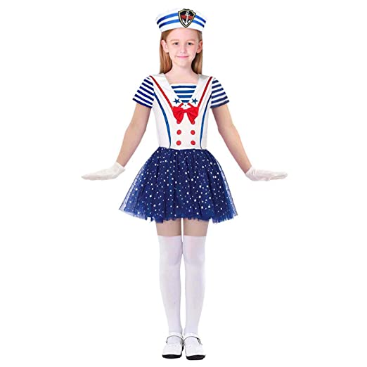 3ac346858 Wraith of East Girl Sailor Dress Navy Nautical Sparkling Stars Sequins  Costume Hat