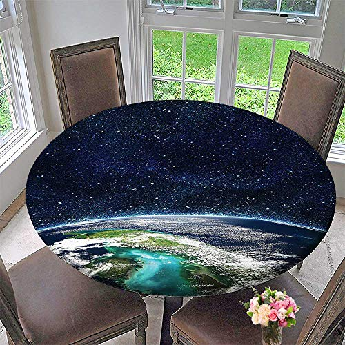 Mikihome Chateau Easy-Care Cloth Tablecloth Space Moon Universe Decorations Collection Giclee Art Prints of Galaxy Nebula Earth and for Home, Party, Wedding 31.5