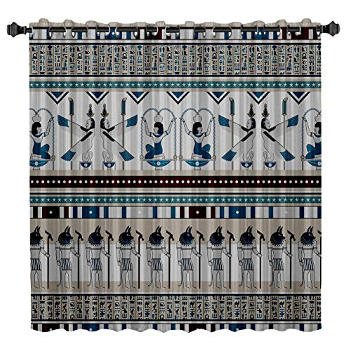 BMALL Blackout Curtains, Room Darkening Thermal Insulated Rod Pocket Blackout Window Drapes for Bedroom/Living Room, Ethnic Style Egyptian Elements Pattern, One Panel, -