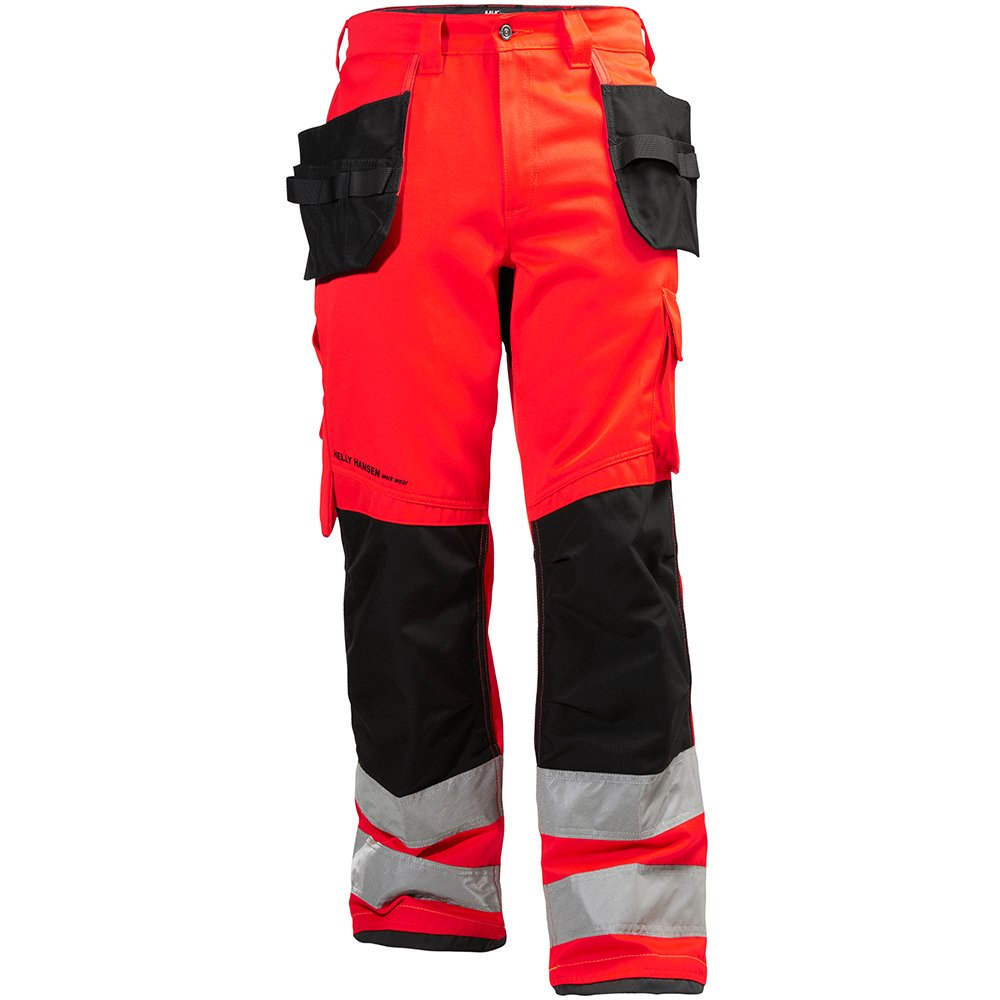 Helly Hansen 77413_169-C44 Class 2 Hi-Vis Pants with Alna Construction, C44, Red/Charcoal