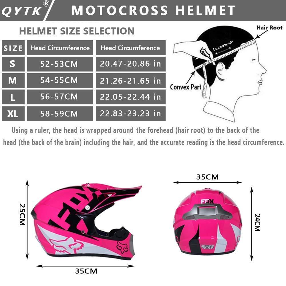 LSLVKEN Casco De Moto Casco De Motocross Ni/ños Rosa Full Face Off-Road Motocicleta Cascos Cruzados con Gafas M/áscaras Guantes Moto MTB Outdoors Sport Motocicleta Casco Set,S