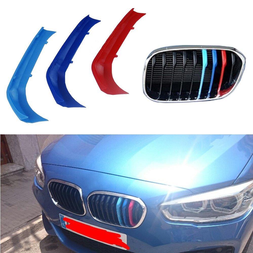 Muchkey 3D M-Color Parrilla de riñ ó n, para 116i 118i 120i (9 parrillas) 2015-2017, 3 colores parrilla delantera trim