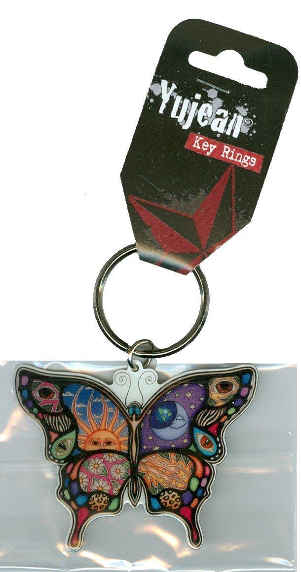 Dan Morris - Celestial Day / Night Butterfly Metal Die-Cut Enameled Llavero Keychain - 2.5' x 1.75' - Patchwork of Moon, Sun, Flowers, Stars, & Eyes - Collector's Item & Eyes - Collector' s Item CH304