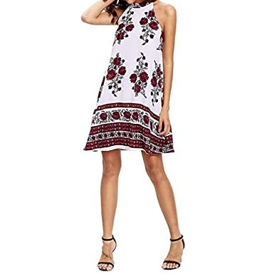af56cd33fc Clearance Wesny Women Summer Sleeveless Bohemian Beach Printed Party Mini  Dress (S