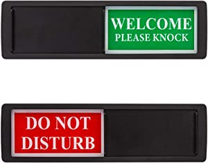 Privacy Sign - Do Not Disturb/Welcome Sign for Home Office Restroom Conference Hotel Hospital, Easy to Read Non-Scratch Magnetic Slider Door Indicator Sign with Clear, Bold & Colored Text - Black