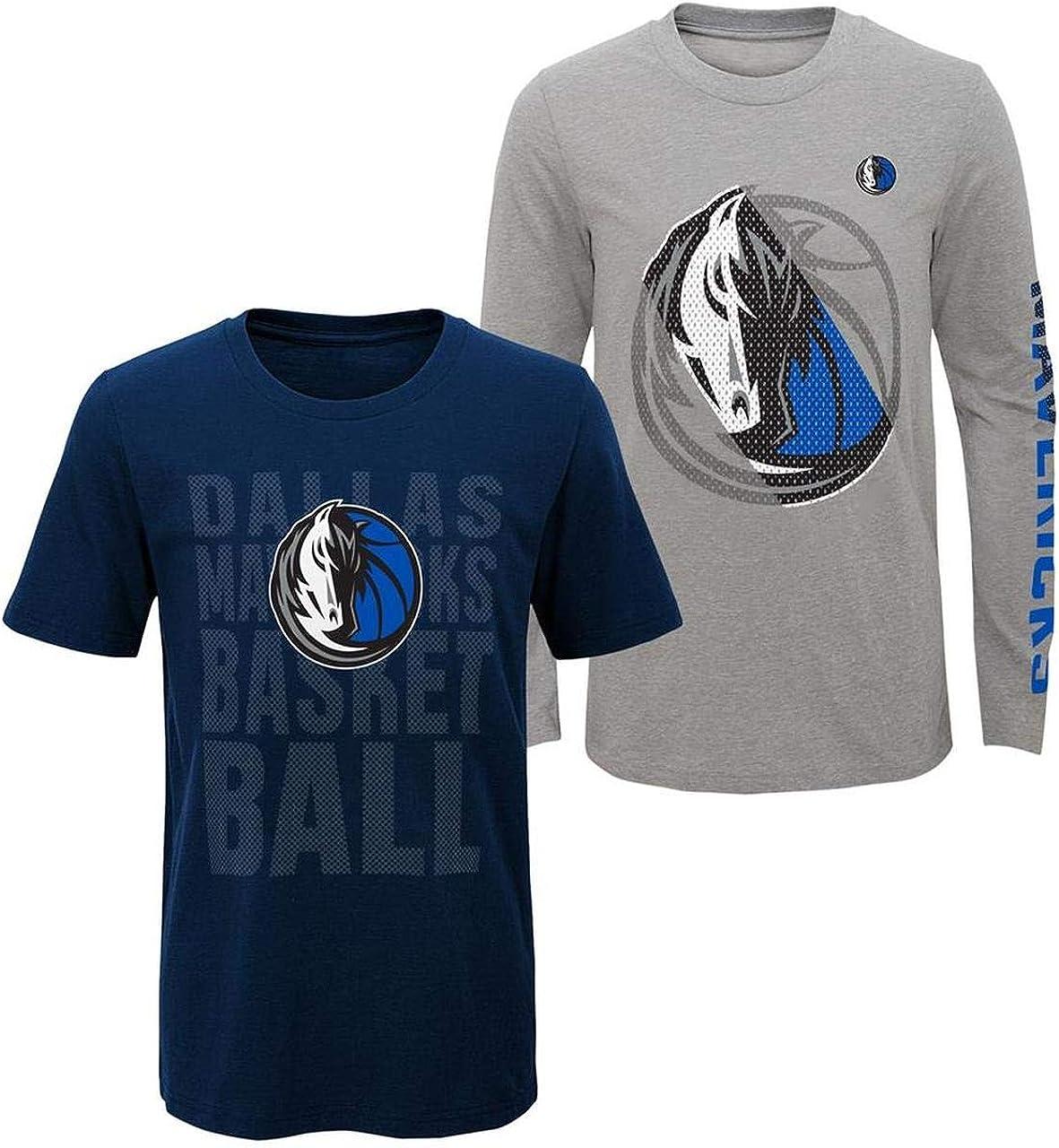 NBA Youth 8-20 Primary Logo 2 for 1 Long Sleeve Short Sleeve T-Shirt Combo Set