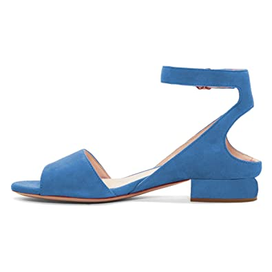 bfc1316ae XYD Women Suede Strappy Low Heel Sandal Pumps Open Toe Ankle Strap  Slingback Dress Shoes Size