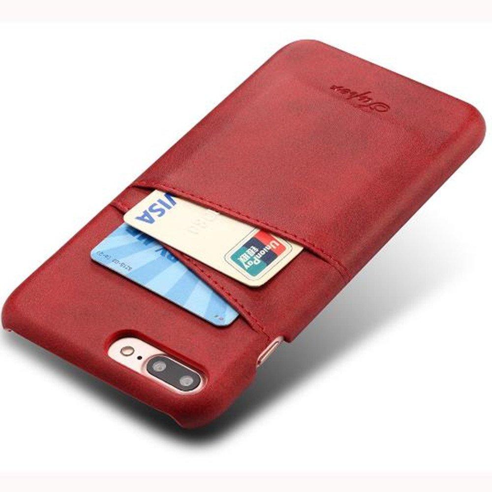 iPhone 7 Plus Luxury Synthetic Leather Case,Aulzaju iPhone 8 Plus Super Slim Cow Leather Credit Card Case Fashion Comforatable Wallet Cover for iPhone 7 Plus/8 Plus-Blue