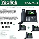 Yealink IPPhone SIP-T46S 4-Pack Optima HD USB Dongle PoE 16 VoIP accounts