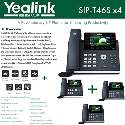 Yealink IPPhone SIP-T46S 4-Pack Optima HD USB Dongle PoE 16 VoIP accounts by Yealink