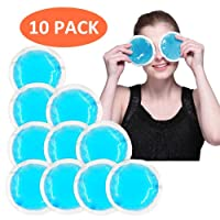 Round Gel Ice Pack Reusable Hot Cold Therapy for Pain Relief, Sinus Relief, Swelling Control, Toothache, Face Eyes Cooling Down and Relax, Blue-10 Packs