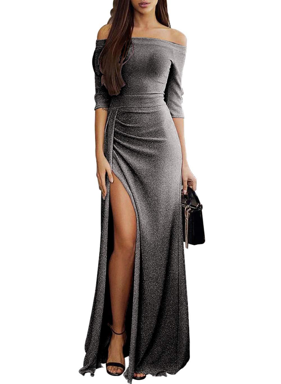 Ladies Elegant Formal Off Shoulder High Waist Solid Formal 2018 Slit Black Evening Party Prom Cocktail Maxi Long Dress Small (4-6) L-black by HUUSA