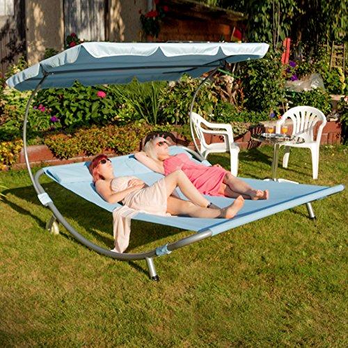 Sonnenliege 2 personen  Amazon.de: Sonnenliege Doppelliege mit Dach für 2 Personen, JL22-Blau