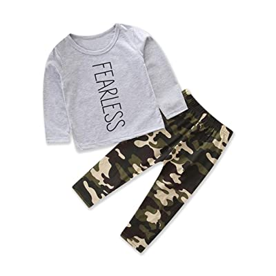 b8a4cdfbe 2PCS/ Set Toddler Baby Boys Fearless T-shirt Tops+Camouflage Pants Winter  Outfits