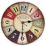 Best New Large Wooden Wall Clock Round Vintage France Paris Colourful French Country Tuscan Style Creative Wood Wall Watch^.