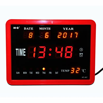 V.JUST Reloj De Pared Digital LED, Reloj De Sobremesa con Timbre por Hora
