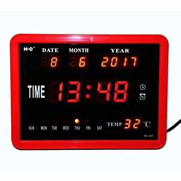 Shuangklei Reloj De Pared Digital Led Hourly Chime Reloj De Escritorio Con Temperatura Electrónica Fecha De Semana Calendario Digital Relojes Despertadores ...