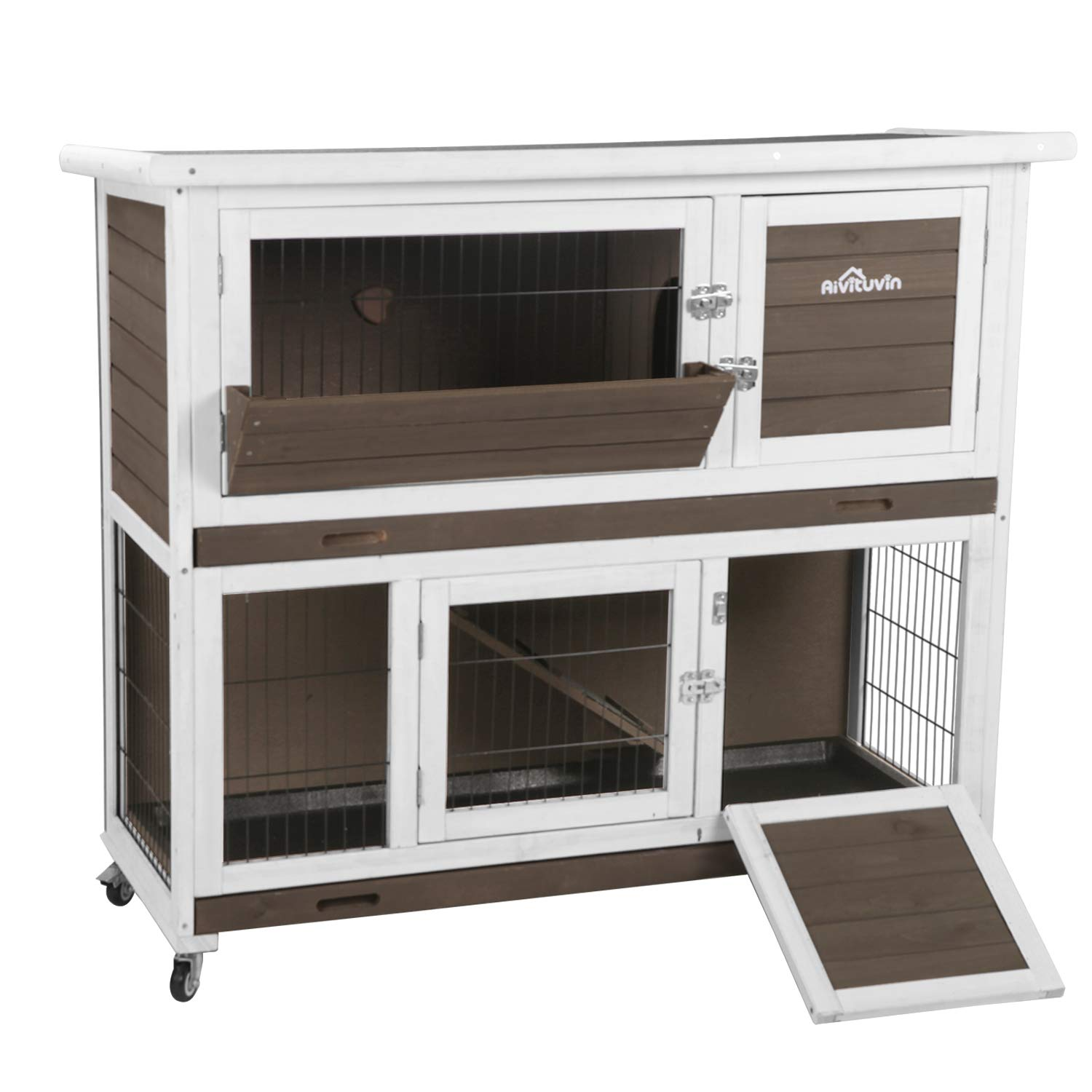 Aivituvin 47'' Rabbit Hutch Outdoor and Indoor 2- Story Bunny cage on Wheels - 2 Deep No Leakage Pull Out Tray by Aivituvin