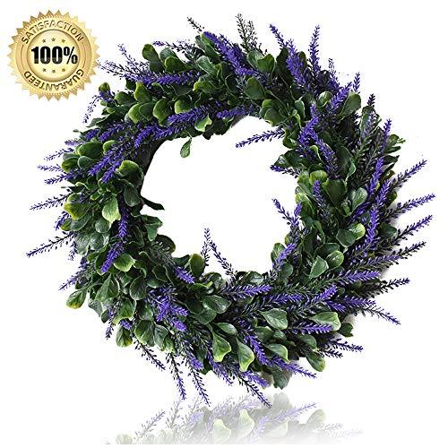 Heflashor 15.7'' Leaves Wreath Lavender Wreath Artificial Door Wreath Decoration Eucalyptus Garland for Home Office Wall Front Door Wedding Decor (Door Wreaths Sale Large For)