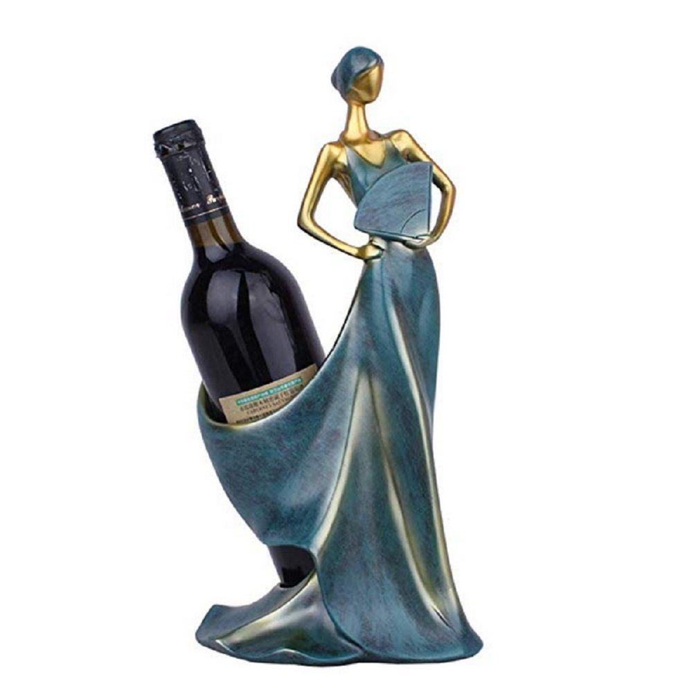 Sulin Folding Fan Beauty Wine Rack American Retro Ornament Decoration For Living Room Wine Cabinet,Blue