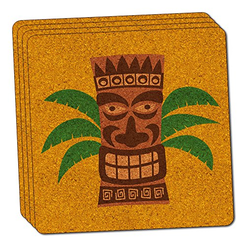 - Tropical Tiki Head Thin Cork Coaster Set of 4