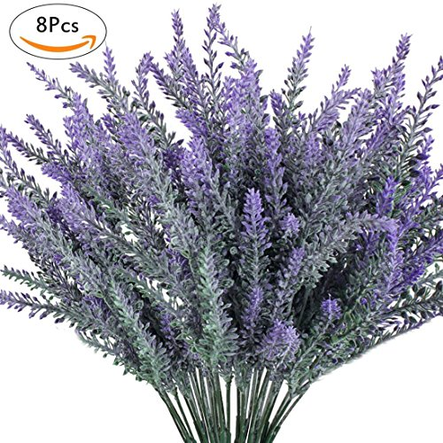 Luyue 8PCS Artificial Lavender Flowers Bouquet Fake Lavender Plant Bundle for Wedding Home Decor Garden Patio Decoration by Luyue