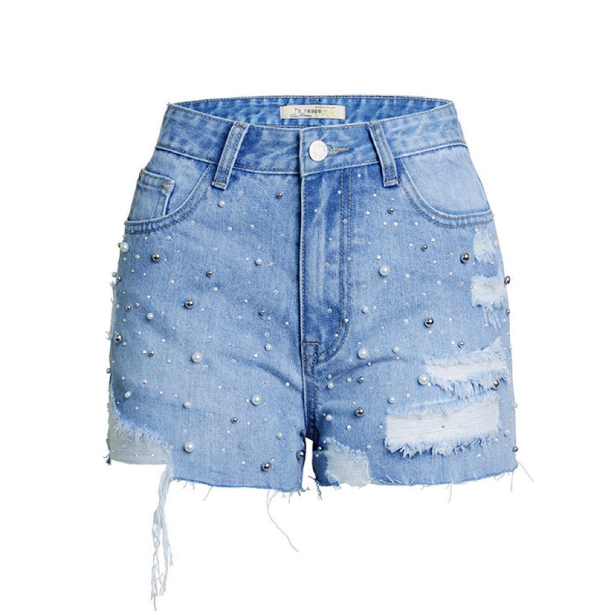 Beaded denim shorts MYKIO SHOP High Waist Denim Shorts Peals Beaded Ripped Jeans Shorts Womens Casual Summer Plus Size