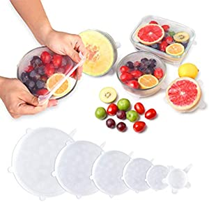 Silicone Stretch Lids, Reusable Silicone Lids Food and Bowl Covers 6-Pack Multiple Sizes Fruit Shape Silicone Bowl, Durable and Expandable Food Covers Set, Keeping Food Fresh, Dishwasher