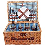 Honey Wicker 4 Person Picnic Basket with Blue lining by Basic House