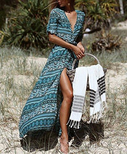 Largo Vestidos Ocasional Lylafairy Maxi Boho Floral para 5 Noche Playa pCnaqnw6x