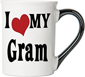 Tumbleweed Coffee Mug - I Love My Gram- Large 18 Oz. Ceramic Mug With Black Handle - Grandparents Gifts - Mothers Day Gifts
