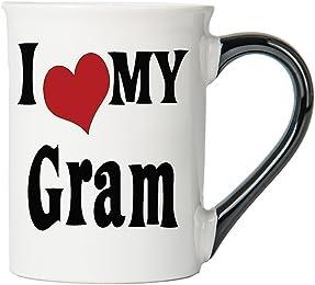 I Love My Gram Large 18 Oz. Coffee Mug; Gram Ceramic Coffee Cup; Gram Gift By Tumbleweed