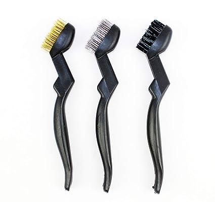 3 Cepillos de Alambre Manual Latón Acero Nylon para Limpieza de Escoria y Óxido de Soldaduras