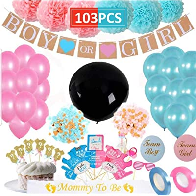 Baby Gender Reveal Party Supplies MAHI (103 Pieces) Kit Including Photo Booth Props, 36 Inch Reveal Balloon, Pink and Blue Confetti , Boy or Girl Banner, Mommy To Be Sash, Baby Shower Decorations, Cup Cake Toppers and more...