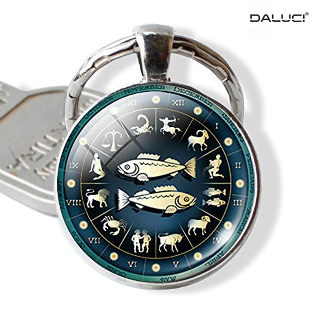 d2a7594af0 DALUCI Zodiac Signs Round Glass Cabochon Pendant Car Keychain (Aries Sign):  Amazon.in: Bags, Wallets & Luggage