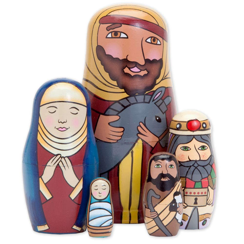 Bits and Pieces - 5pc Nesting Doll Holy Family -The Nativity Family Hand Painted Hand Made Wooden Nesting Dolls Matryoshka Nativity Figurines - Set of 5 Dolls from 5.5'' Tall
