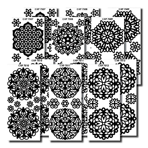 1 Sheet MANDALA/'S Peel Off Stickers GLOSSY BLACK