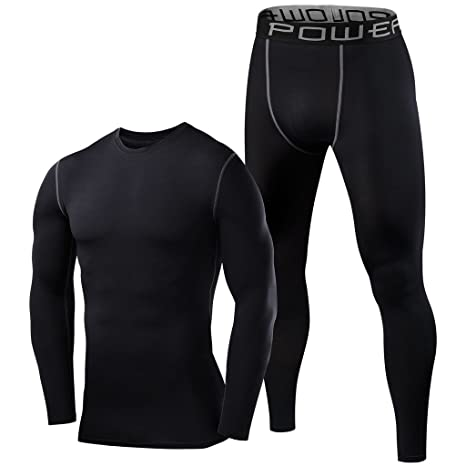 18e8c2812ff PowerLayer Mens   Boys Thermal Performance Baselayer Top   Tights Set - Black  Top   Black