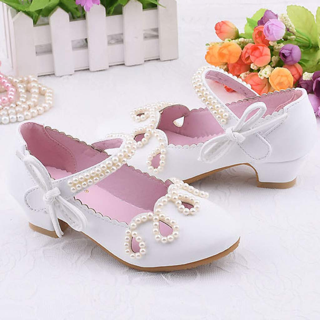 Toddler Girls Pearl Square Heel Leather Single Mary Jane Princess Shoes Sandals