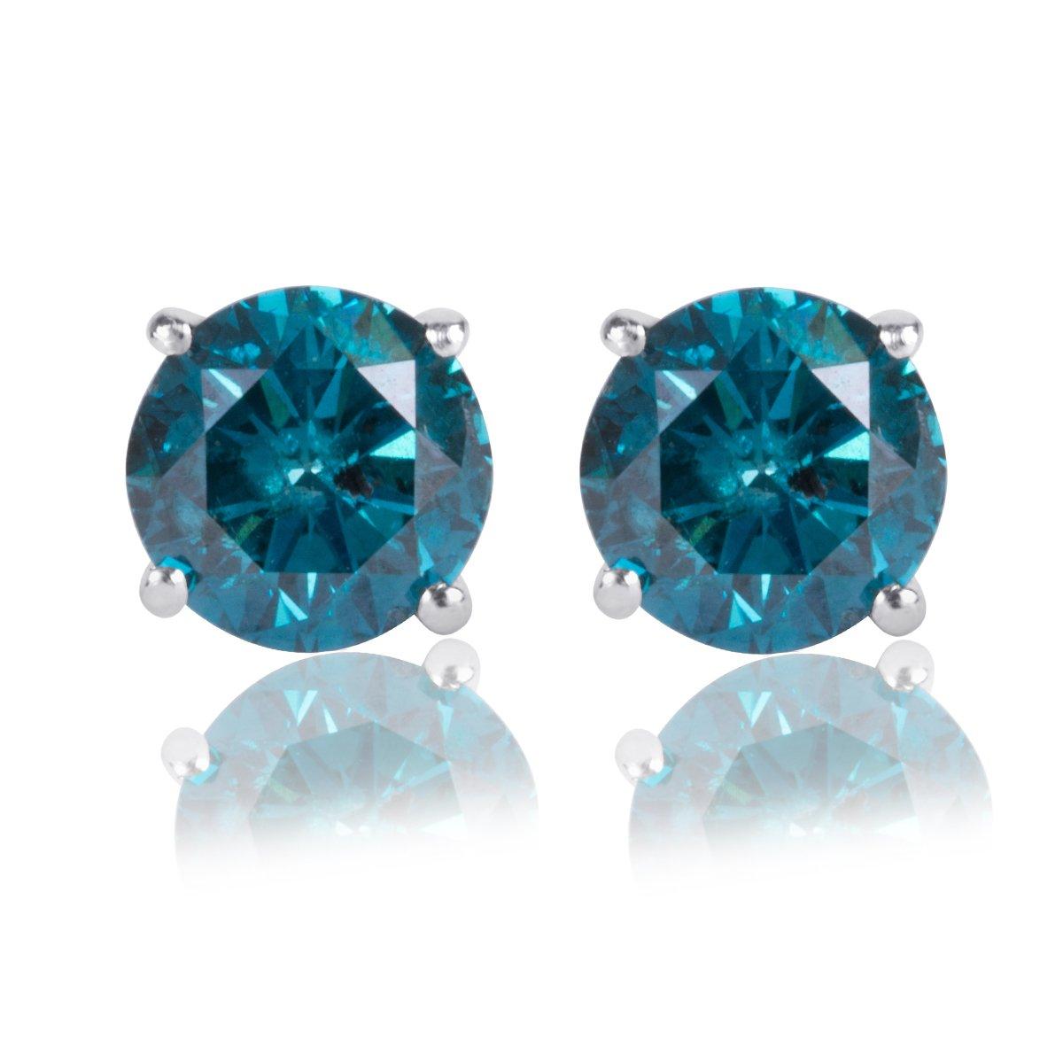 1/4 Ct. Blue Diamond Stud Earring Set in 14k White Gold