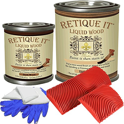 Retique It - Liquid Wood - Pint Graining Tool Kit - Light/Dark - Put a Finished Wood Finish on Any Surface - Paint it Then Stain it - Made Out of Real Wood - (Pt Graining Tool Kit - Light/Dark) by Renaissance Furniture Paint