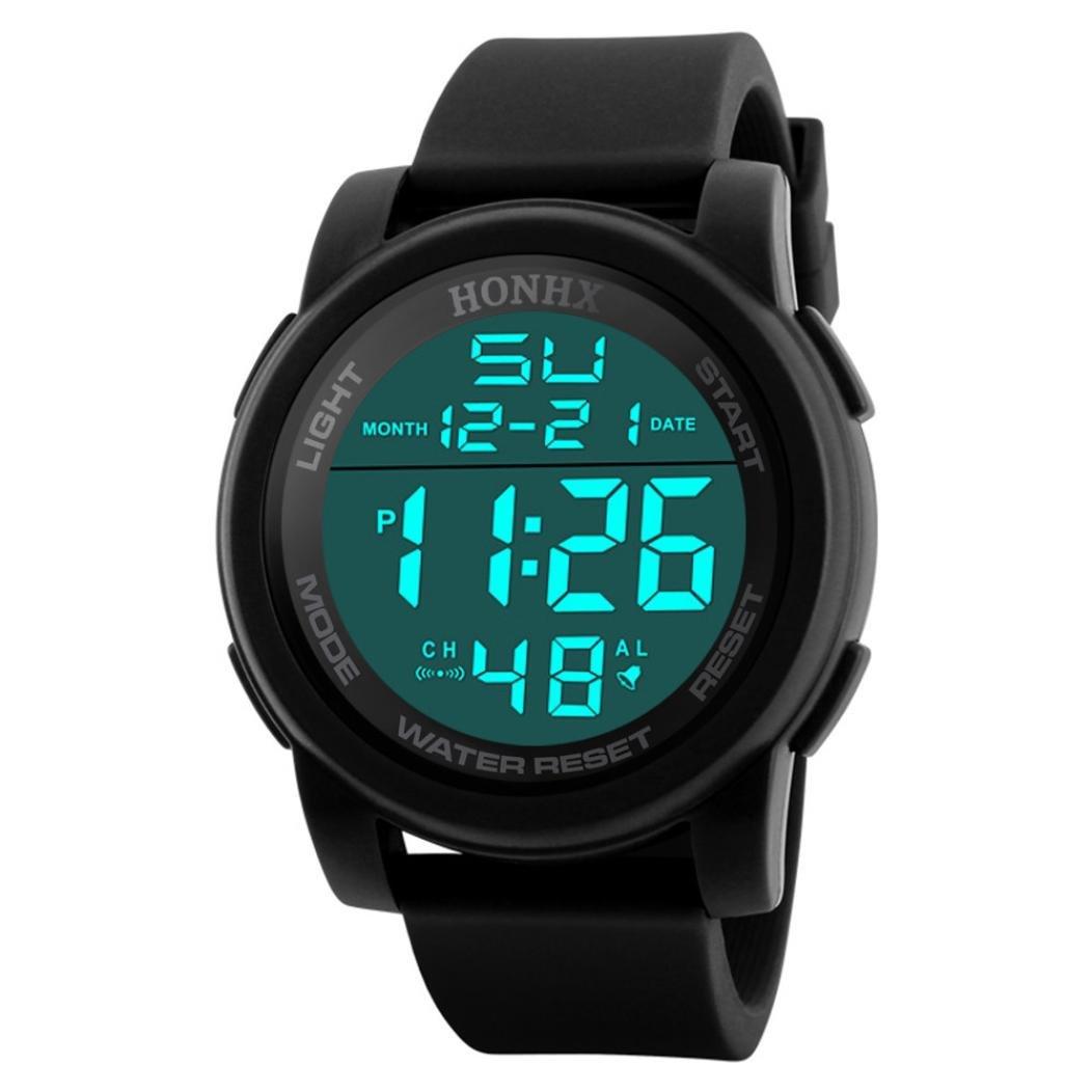 Reloj deportivo multifuncional militar para hombres, impermeable, diseño simple con números grandes en pantalla LCD digital, Reloj casual con cronómetro y ...