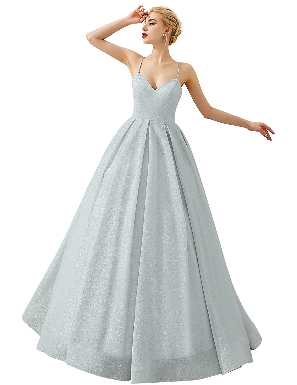 Silver VKBRIDAL Women's Glittery Prom Dresses Long Formal Evening Party Ball Gowns