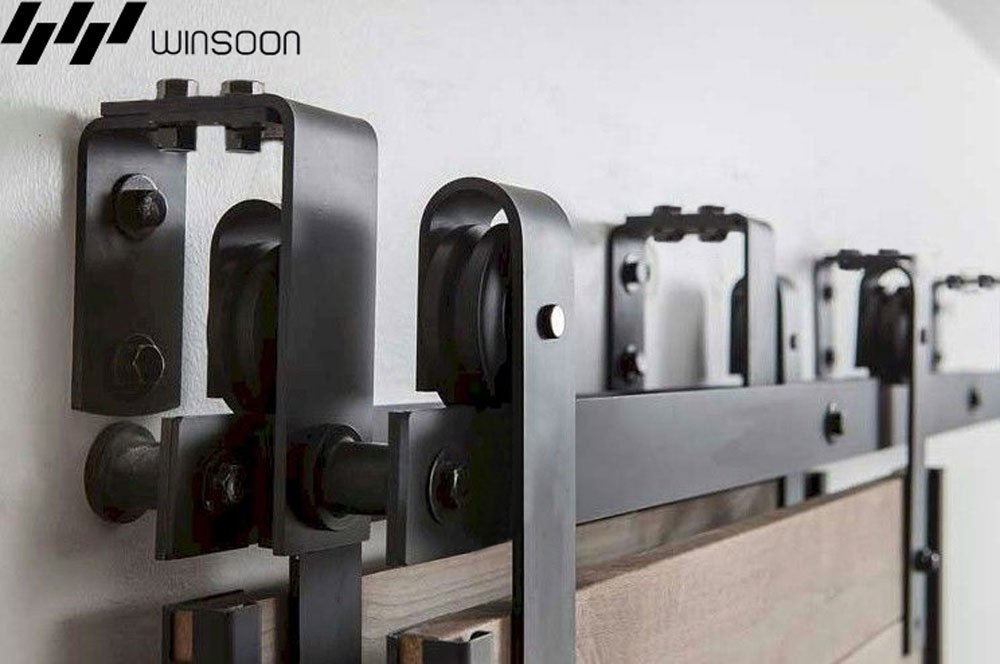 WINSOON New Bending Room Wall Mount Bypass Double Black Sliding Wood Door Roller Hardware Track Pulley Folding Steel Kit (6FT / Two Door Set) by WINSOON (Image #7)