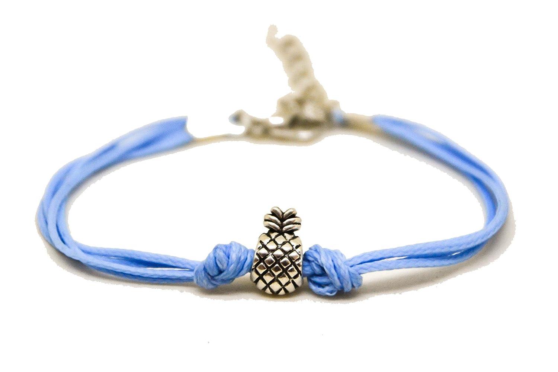 Pineapple Bracelet, Blue Cord Bracelet with a Silver Pineapple Charm, Fruit Bracelet, Summer Jewelry, Gift for her, Minimalist Shani and Adi Jewelry Shani & Adi Jewelry