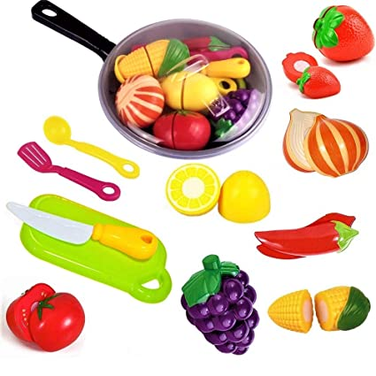 3de64ced2 FUNERICA Toy Cooking Pan with Beautiful Play Food, Cutting Toy Vegetables  and Fruits, Toy