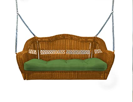 Tortuga Outdoor Portside Wicker Porch Swing with Cushion - Light Brown